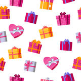 Seamless Pattern Gift Boxes. Royalty Free Stock Photo