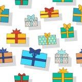 Seamless Pattern Gift Boxes. Stock Photos