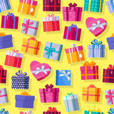 Seamless Pattern Gift Boxes. Stock Images