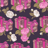 Seamless pattern with gift boxes and flowers Royalty Free Stock Image