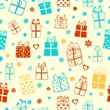 Seamless pattern of gift boxes Royalty Free Stock Photo