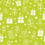 Seamless pattern of gift boxes Stock Photos