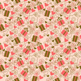 Seamless pattern with gift boxes and hearts. Seamless pattern with a gift boxes and hearts Stock Image