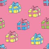 Seamless pattern with gift boxes, paper wrap. Stock Photography