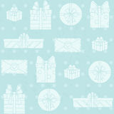 Seamless pattern with gift boxes on polka dots background Stock Photography