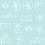 Seamless pattern with gift boxes on polka dots background Royalty Free Stock Photography