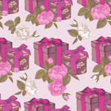 Seamless pattern with gift boxes and roses Royalty Free Stock Photos