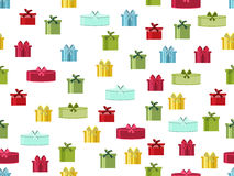 Seamless pattern with gift boxes. Seamless pattern with Christmas presents. Vector Royalty Free Stock Photo