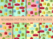Seamless pattern with gift boxes. Seamless pattern with Christmas presents. Vector Royalty Free Stock Photography