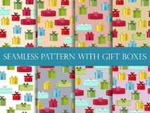 Seamless pattern with gift boxes. Seamless pattern with Christmas presents. Vector Stock Photos