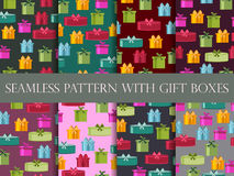 Seamless pattern with gift boxes. Seamless pattern with Christmas presents. Vector Stock Images