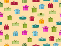 Seamless pattern with gift boxes. Seamless pattern with Christmas presents. Vector Stock Photography