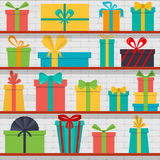 Seamless pattern of gift boxes on the shelves. Gift shop. Stock Image