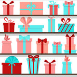 Seamless pattern of gift boxes on the shelves. Gift shop. Royalty Free Stock Photos