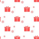 Seamless pattern with gift boxes and snowflakes. Seamless pattern with gift boxes tied with ribbons and snowflakes. Design for postcard, invitation, banner Stock Photography