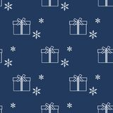 Seamless pattern with gift boxes and snowflakes. Seamless pattern with gift boxes tied with ribbons and snowflakes. Design for postcard, invitation, banner Stock Photo