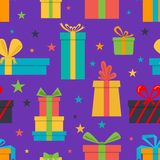 Seamless pattern of gift boxes and stars Royalty Free Stock Photography