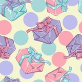 Seamless pattern with gift boxes. Vector texture.  Royalty Free Stock Image