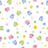 Seamless pattern with gift boxes, watercolor Stock Images