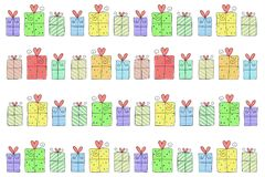 Seamless pattern, Gift boxes on white. Background Stock Photography