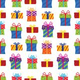 Seamless pattern, gift boxes on white background. Vector illustration Stock Images