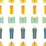 Seamless pattern with gift boxes on white background. Vector illustration Stock Photos