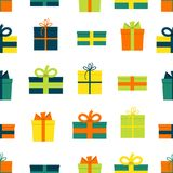 Seamless pattern with gift boxes on white background. Vector illustration Stock Image