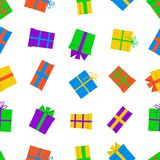 Seamless pattern with gift boxes on white background. Vector illustration Royalty Free Stock Photos
