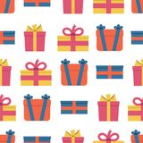 Seamless pattern with gift boxes on white background. Vector illustration Stock Photography