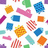 Seamless pattern, gift boxes on white background. Vector illustration Stock Image