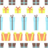Seamless pattern with gift boxes on white background. Vector illustration Royalty Free Stock Photo