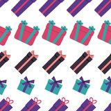 Seamless pattern with gift boxes on white background. Vector illustration Royalty Free Stock Photography