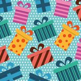 Seamless pattern gift boxes wrapped ribbon bow decoration. Vector illustration Stock Photo