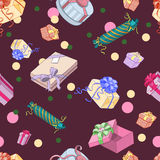 Seamless pattern with gift packages Royalty Free Stock Images