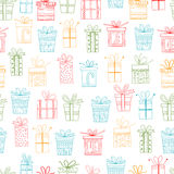 Seamless pattern of gift packages, Christmas gifts. For textiles, interior design, for book design, website background Royalty Free Stock Images