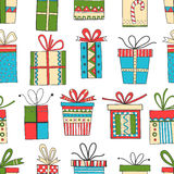 Seamless pattern of gift packages, Christmas gifts Stock Photos
