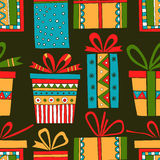 Seamless pattern of gift packages, Christmas gifts Stock Image