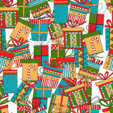 Seamless pattern of gift packages, Christmas gifts Stock Photo