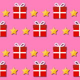 Seamless pattern. Giftbox and stars symbols. Stock Image