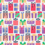 Seamless pattern with gifts. Stock Photo