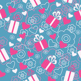 Seamless pattern with gifts and hearts Stock Images