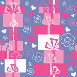 Seamless pattern with gifts and hearts Stock Image