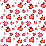 Seamless pattern with gifts, hearts Stock Images