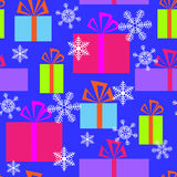 Seamless pattern with gifts and snowflakes Royalty Free Stock Image