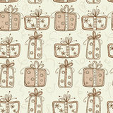 Seamless pattern with gifts Royalty Free Stock Images