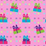 Seamless pattern with giftson pink background Royalty Free Stock Images