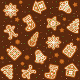 Seamless pattern with Gingerbread Christmas cookies. Decorated icing. Holiday cookie in shape of Christmas Xmas tree, star, bell, sock, gingerbread men Royalty Free Stock Photography