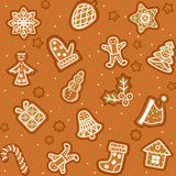 Seamless pattern with Gingerbread Christmas cookies Stock Image
