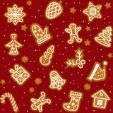 Seamless pattern with Gingerbread Christmas cookies Royalty Free Stock Photo