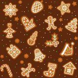 Seamless pattern with Gingerbread Christmas cookies Royalty Free Stock Images